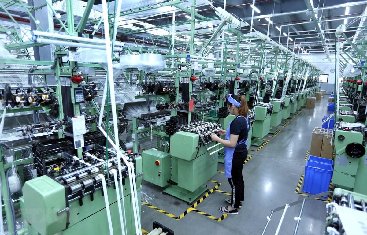 Dây chuyền sản xuất vải dệt kim tại Công ty TNHH Best Pacific Việt Nam. (Ảnh: Danh Lam/TTXVN)