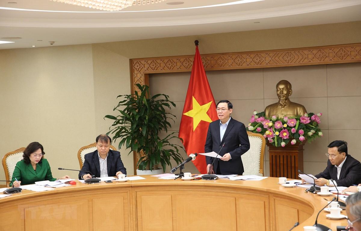 Phó Thủ tướng Vương Đình Huệ, Trưởng Ban Chỉ đạo điều hành giá chỉ đạo cuộc họp. (Ảnh: Dương Giang/TTXVN)