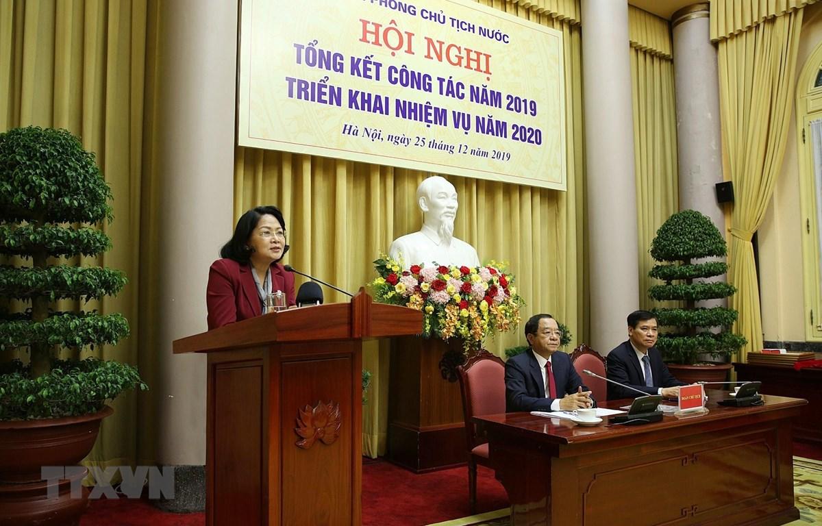 Phó Chủ tịch nước Đặng Thị Ngọc Thịnh phát biểu chỉ đạo hội nghị. (Ảnh: Dương Giang/TTXVN)