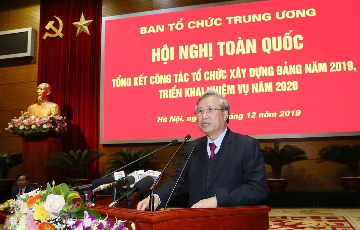 Đồng chí Trần Quốc Vượng, Ủy viên Bộ Chính trị, Thường trực Ban Bí thư phát biểu chỉ đạo hội nghị. (Ảnh: Phương Hoa/TTXVN)