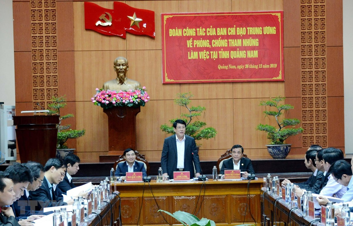 Đại tướng Lương Cường phát biểu tại buổi làm việc. (Ảnh: Đoàn Hữu Trung/TTXVN)