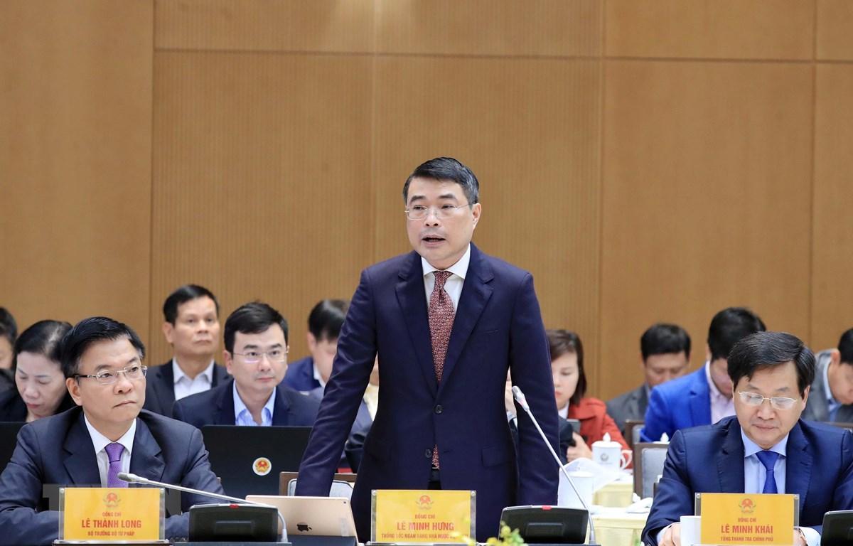 Thống đốc Ngân hàng Nhà nước Lê Minh Hưng phát biểu. (Ảnh: Thống Nhất/TTXVN)