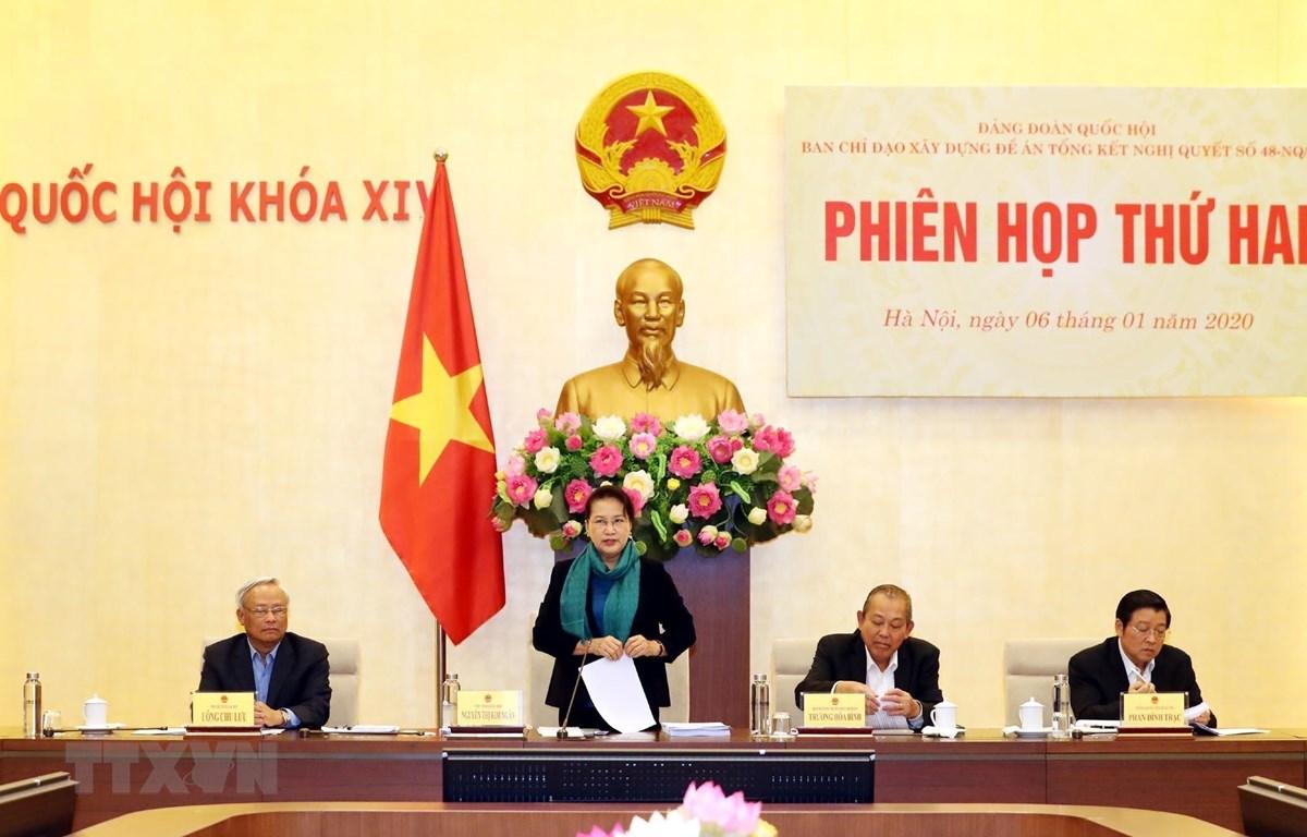 Chủ tịch Quốc hội Nguyễn Thị Kim Ngân chủ trì Phiên họp. (Ảnh: Trọng Đức/TTXVN)