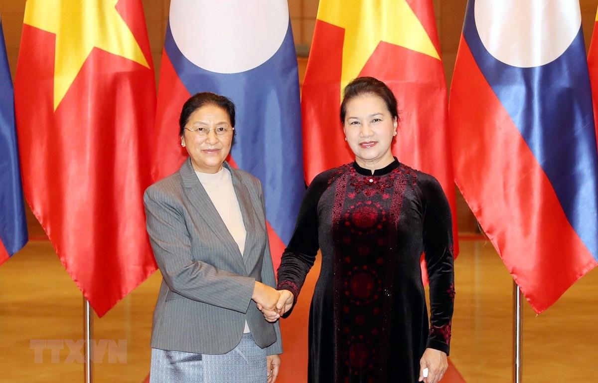 Chủ tịch Quốc hội Nguyễn Thị Kim Ngân tiếp Chủ tịch Quốc hội Lào Pany Yathotou. (Ảnh: Trọng Đức/TTXVN)