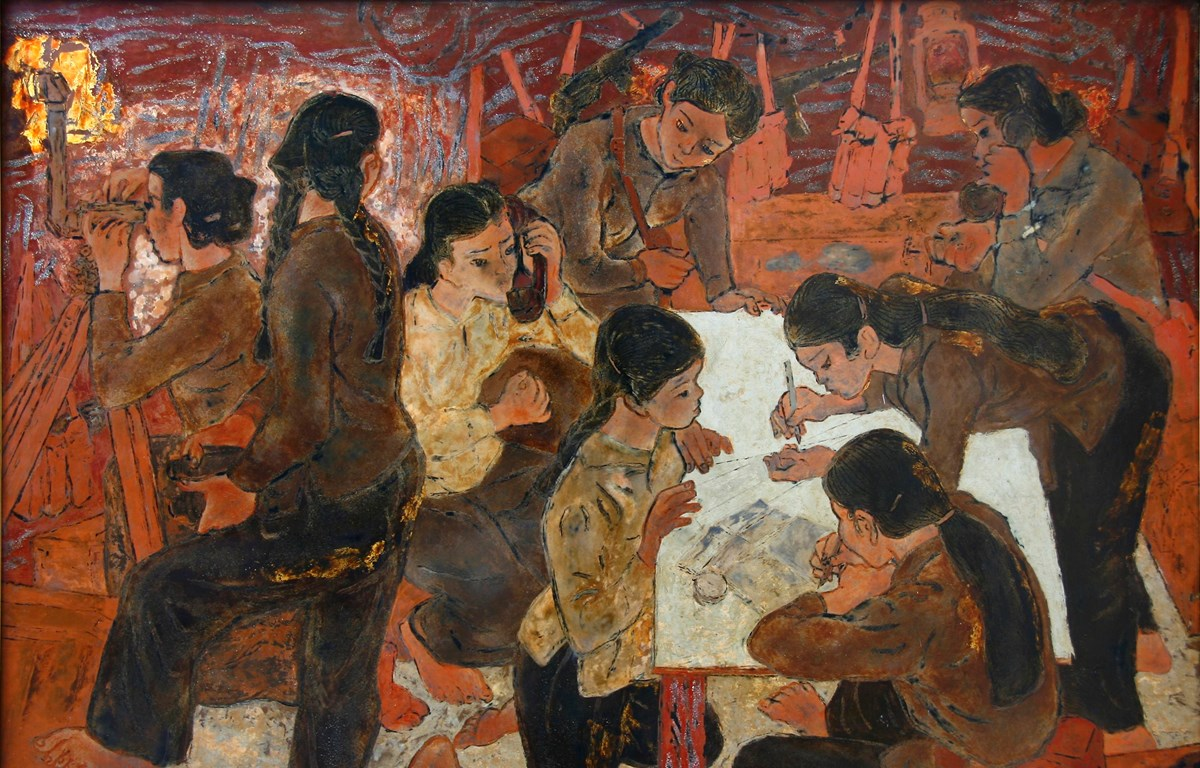 Tác phẩm Dân quân gái Ngư Thủy trưng bày tại triển lãm (Nguồn: vnfam.vn)