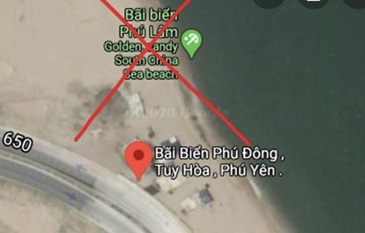 Google Maps hiển thị thông tin sai sự thật về bãi biển Phú Lâm, thành phố Tuy Hòa tỉnh Phú Yên. (Ảnh: TTXVN phát)