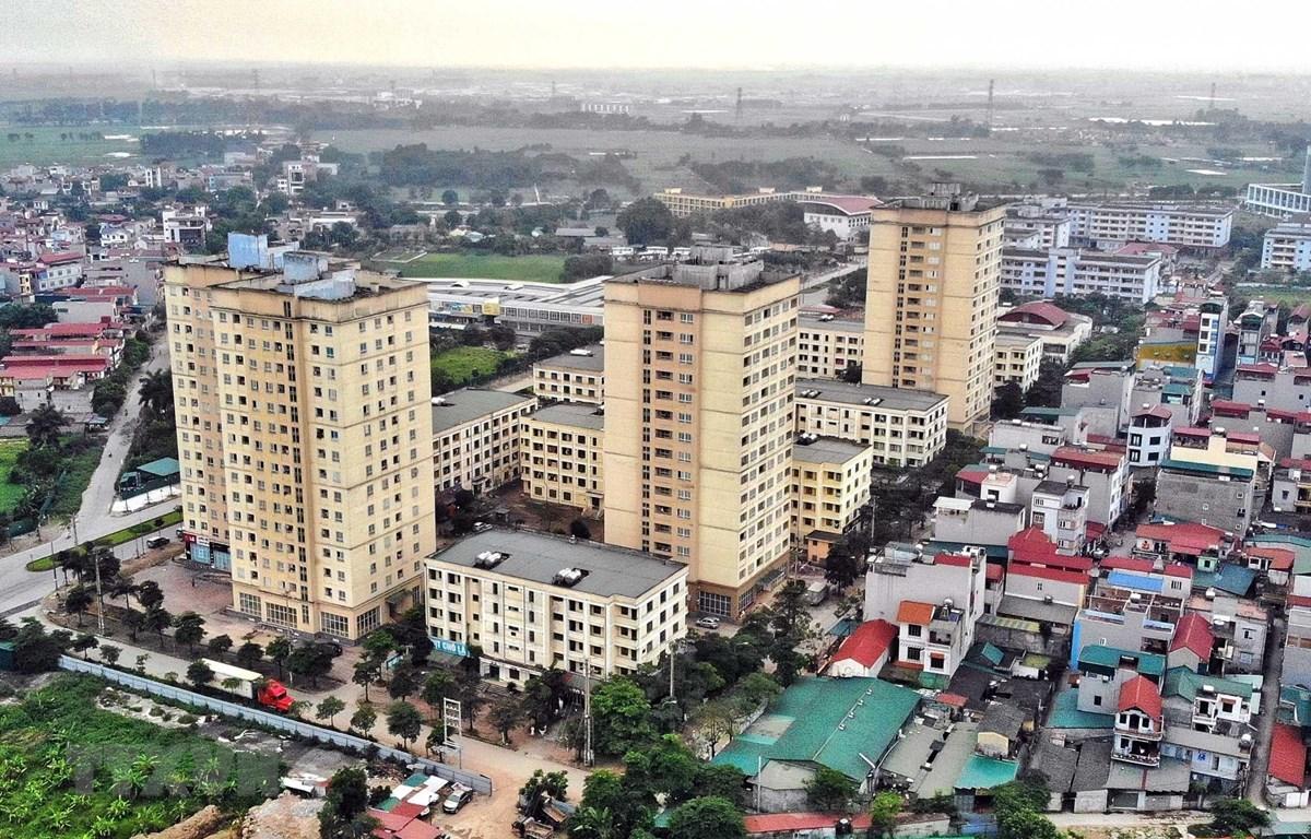 Khu nhà ở xã hội tại Xã Kim Chung, huyện Đông Anh (Hà Nội) dành cho công nhân khu công nghiệp Thăng Long, là dự án phù hợp với đa số người lao động. (Ảnh: Danh Lam/TTXVN)