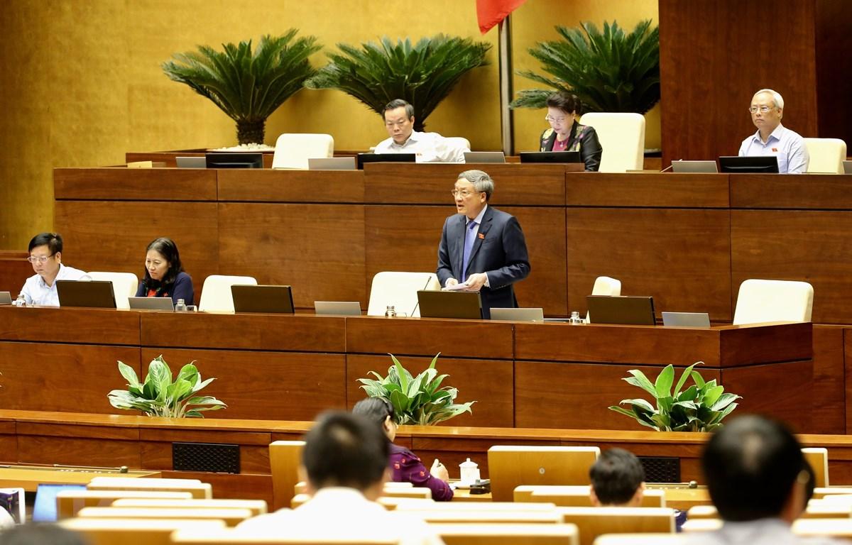 Chánh án Toà án Nhân dân Tối cao Nguyễn Hoà Bình phát biểu làm rõ một số vấn đề đại biểu Quốc hội nêu. (Ảnh: Dương Giang/TTXVN)