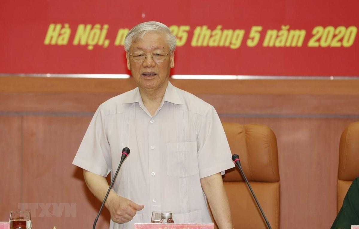 Tổng Bí thư, Chủ tịch nước Nguyễn Phú Trọng, Bí thư Quân ủy Trung ương phát biểu chỉ đạo Hội nghị. (Ảnh: Trí Dũng/TTXVN)