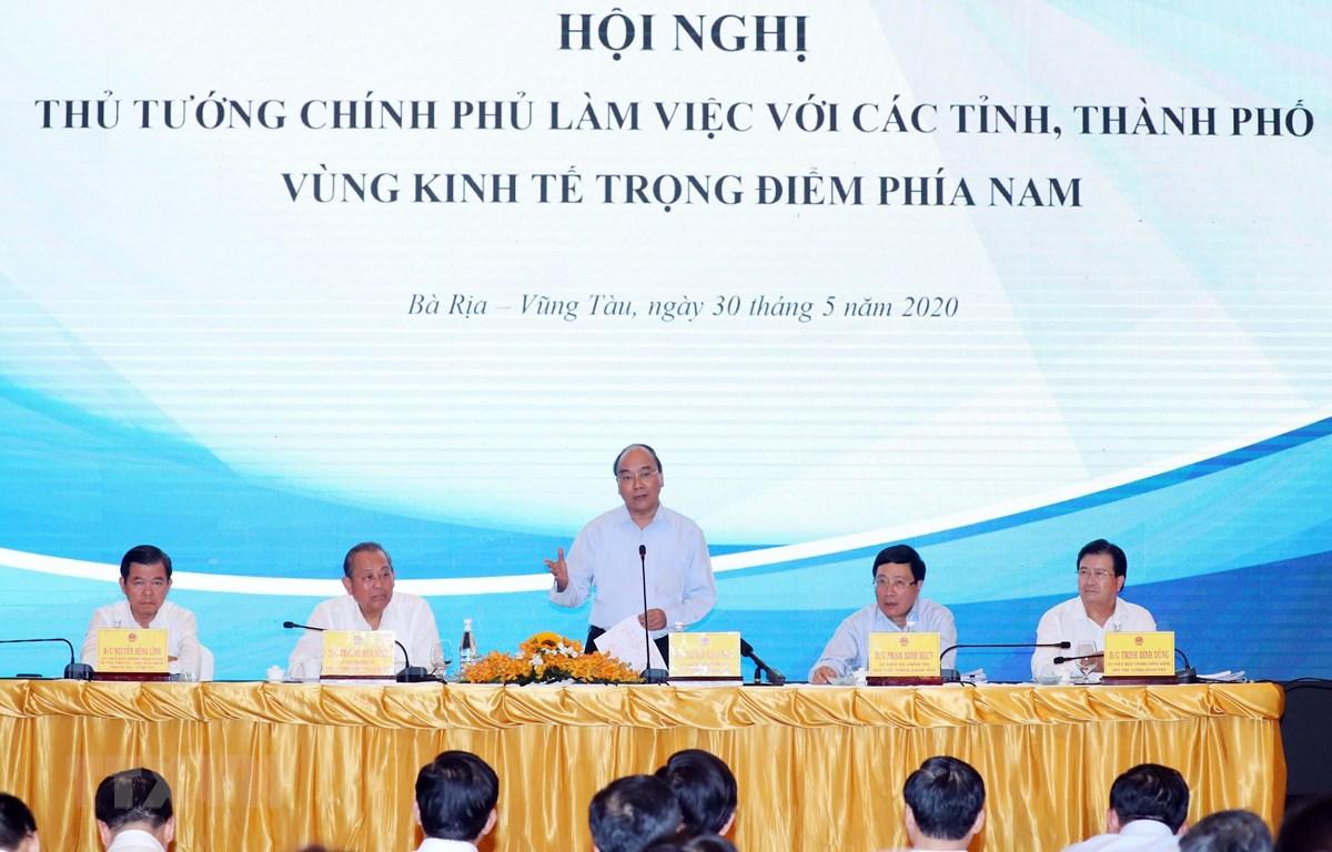 Thủ tướng Nguyễn Xuân Phúc phát biểu kết luận . Ảnh: Thống Nhất – TTXVN