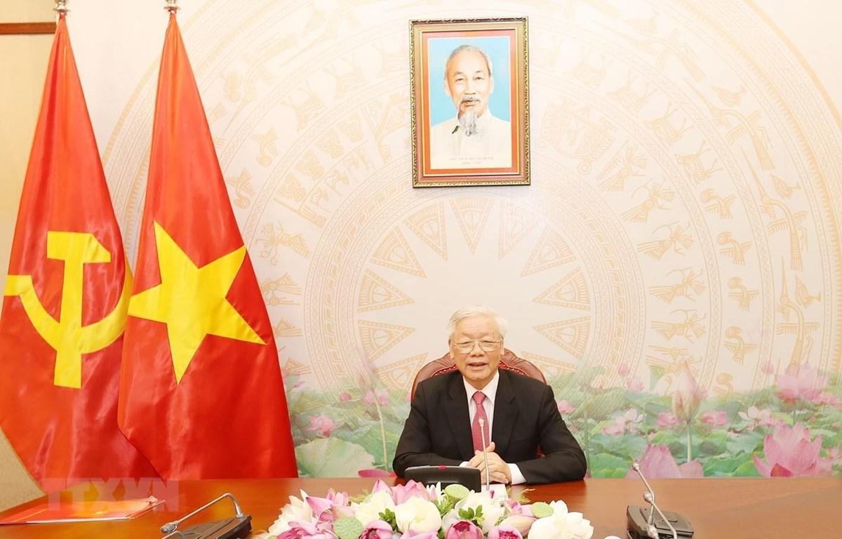 Tổng Bí thư, Chủ tịch nước Nguyễn Phú Trọng điện đàm với Tổng thống Liên bang Nga Vladimir Putin. (Ảnh: Trí Dũng/TTXVN)