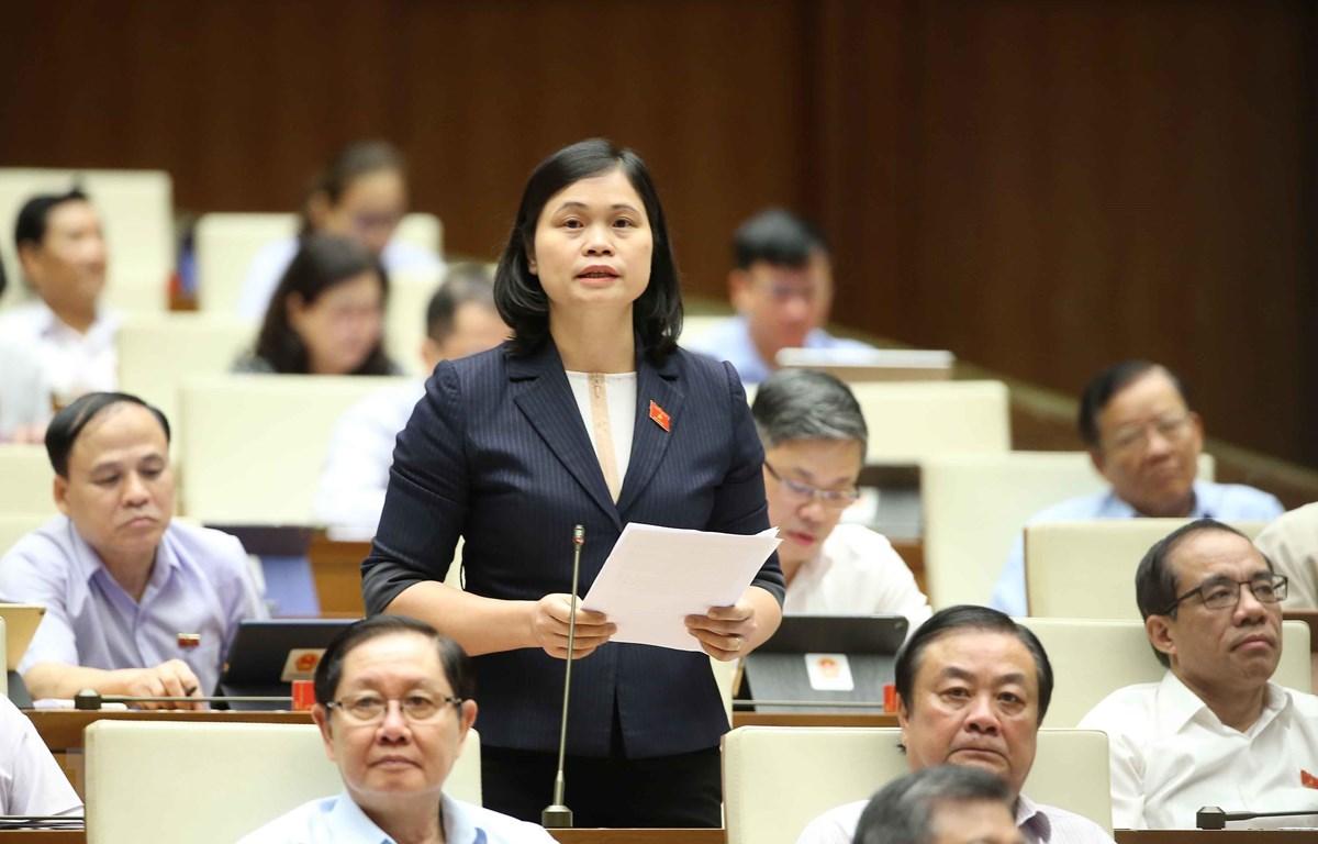 Đại biểu Quốc hội tỉnh Tuyên Quang Ma Thị Thuý phát biểu ý kiến. (Ảnh: Doãn Tấn/TTXVN)