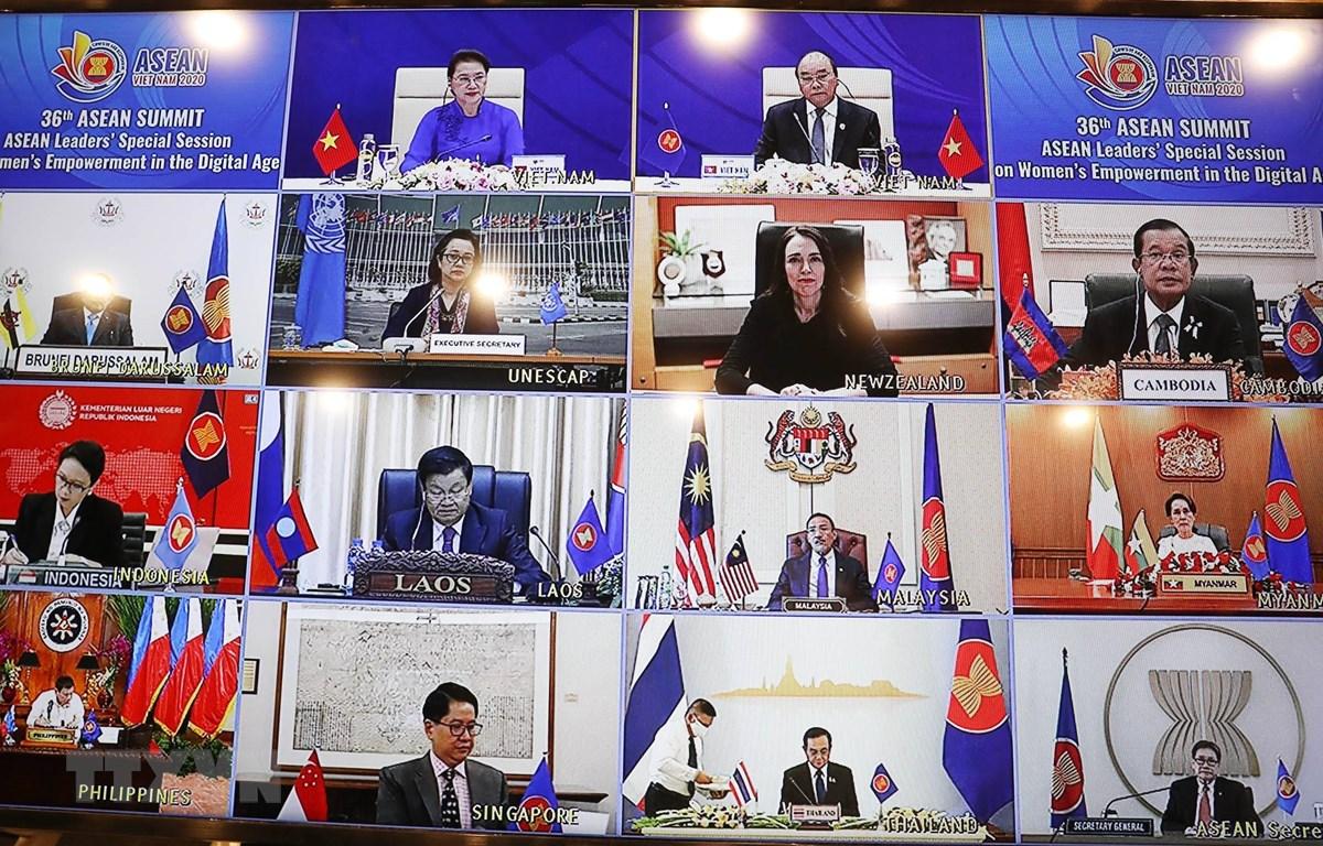 Quang cảnh Phiên họp đặc biệt của các nhà Lãnh đạo ASEAN tại Hội nghị Cấp cao ASEAN 36 về tăng quyền năng phụ nữ trong thời đại số. (Ảnh: TTXVN)