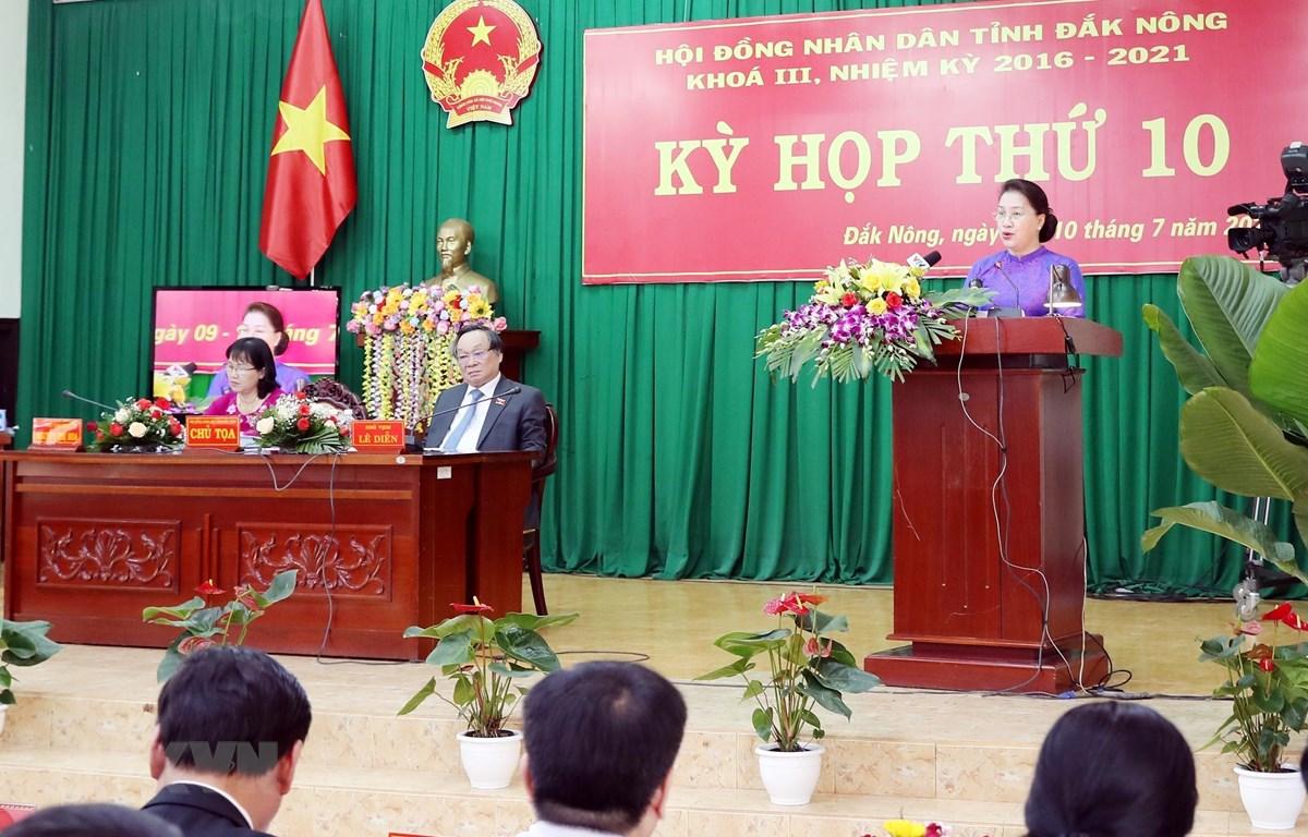 Chủ tịch Quốc hội Nguyễn Thị Kim Ngân phát biểu tại Kỳ họp. (Ảnh: Trọng Đức/TTXVN)