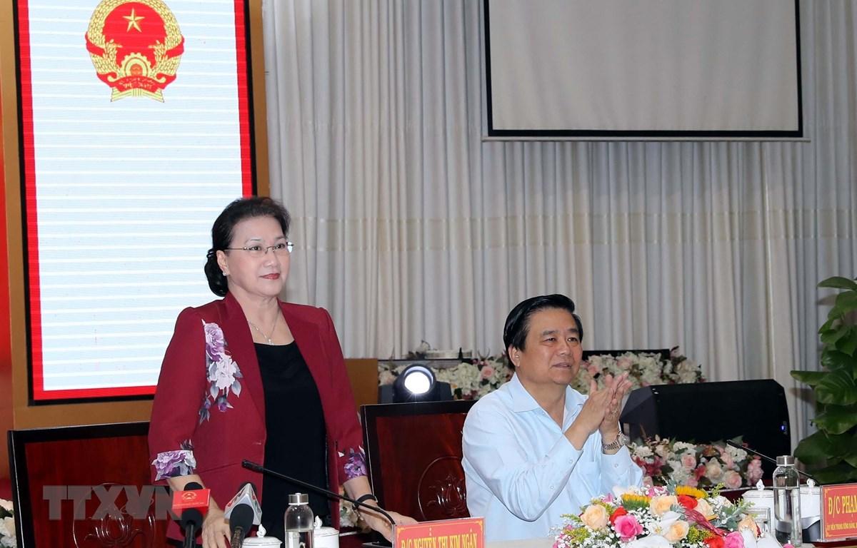 Chủ tịch Quốc hội Nguyễn Thị Kim Ngân tại buổi làm việc. (Ảnh: Trọng Đức/TTXVN)