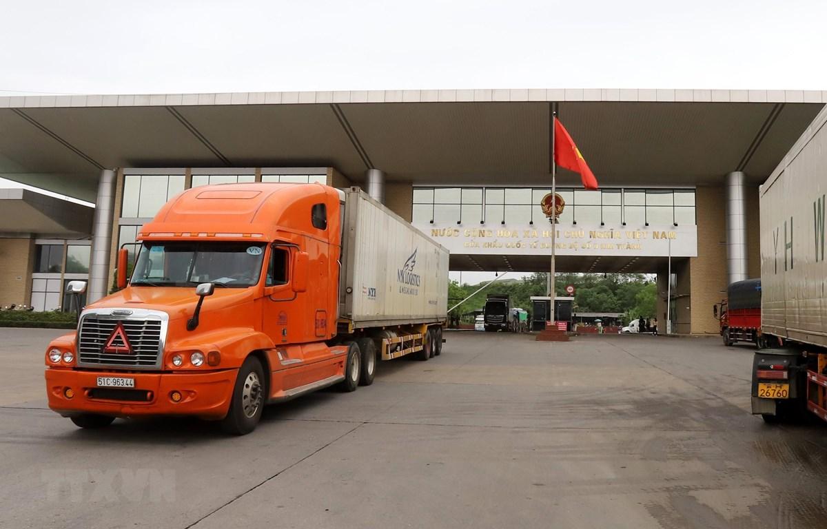 Các xe container chở quả vải thiều được xuất khẩu sang thị trường Trung Quốc tại Cửa khẩu Quốc tế đường bộ số 2 Kim Thành. (Ảnh: Quốc Khánh/TTXVN)