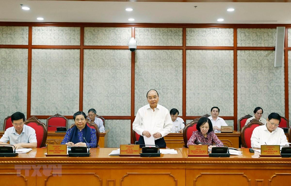 Ủy viên Bộ Chính trị, Thủ tướng Chính phủ Nguyễn Xuân Phú phát biểu tại cuộc làm việc với Ban Thường vụ Tỉnh uỷ Sơn La. (Ảnh: Thống Nhất/TTXVN)