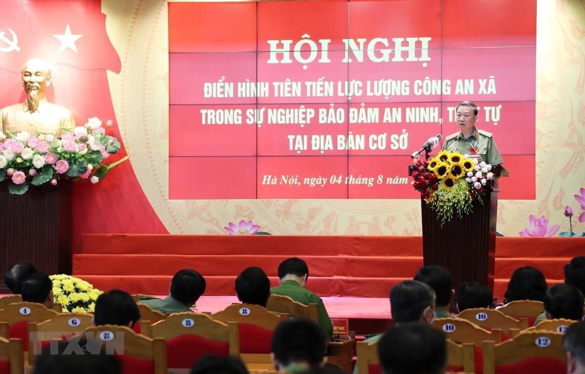 Bộ trưởng Bộ Công an Tô Lâm phát biểu chỉ đạo. (Ảnh: Lâm Khánh/TTXVN)