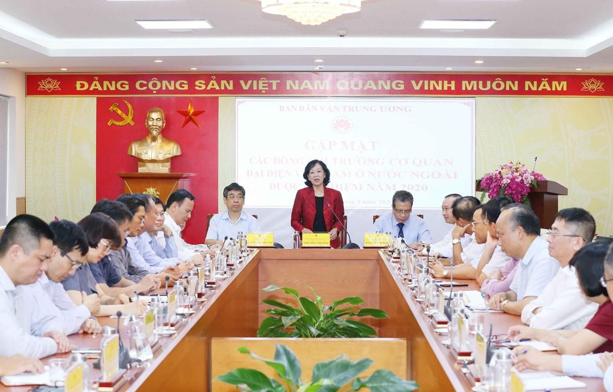Bà Trương Thị Mai, Ủy viên Bộ Chính trị, Bí thư Trung ương Đảng, Trưởng Ban Dân vận Trung ương phát biểu tại buổi gặp mặt. (Ảnh: Phương Hoa/TTXVN)