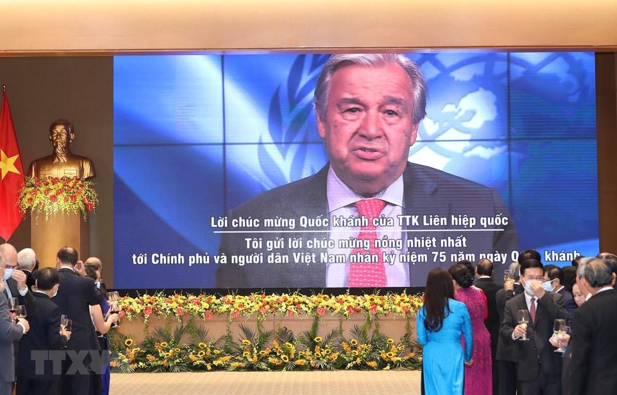 Tổng thư ký Liên hợp quốc Antonio Guterres gửi lời chúc mừng 75 năm Quốc khánh nước CHXHCN Việt Nam (2/9/1945-2/9/2020). (Ảnh: Lâm Khánh/TTXVN)