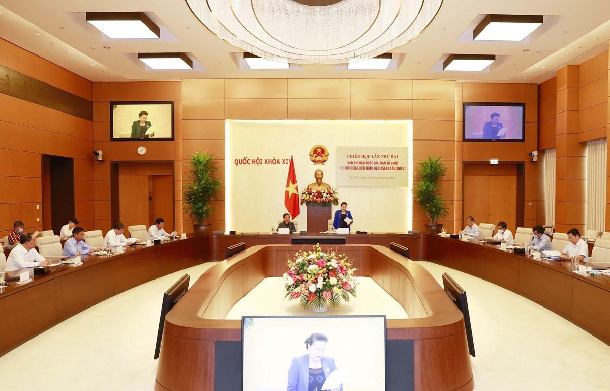 Chủ tịch Quốc hội Nguyễn Thị Kim Ngân, Chủ tịch AIPA 41 chủ trì và phát biểu tại Phiên họp lần thứ hai Ban Chỉ đạo Quốc gia, Ban Tổ chức Đại hội đồng Liên nghị viện ASEAN lần thứ 41 (AIPA 41). (Ảnh: Trọng Đức/TTXVN)