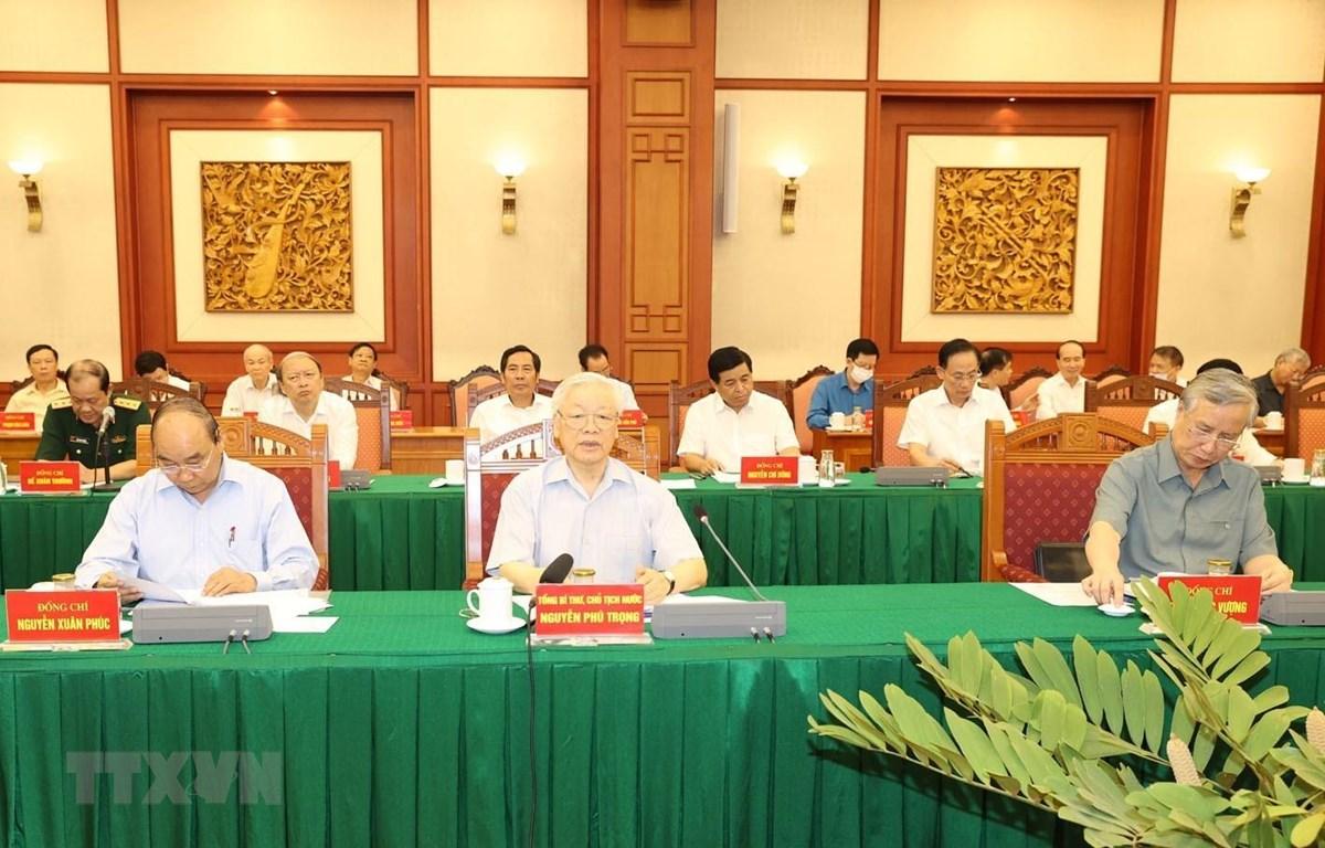 Tổng Bí thư, Chủ tịch nước Nguyễn Phú Trọng, Trưởng Tiểu ban Văn kiện Đại hội XIII của Đảng phát biểu chỉ đạo cuộc họp. (Ảnh: Trí Dũng/TTXVN)