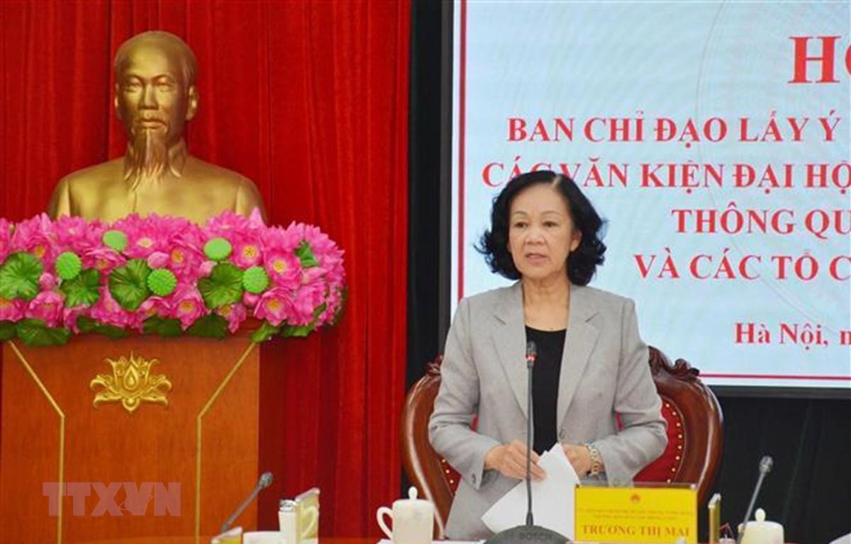 Bà Trương Thị Mai, Ủy viên Bộ Chính trị, Bí thư Trung ương Đảng, Trưởng Ban Dân vận Trung ương, Trưởng Ban Chỉ đạo chủ trì Hội nghị. (Ảnh: Phương Hoa/TTXVN)
