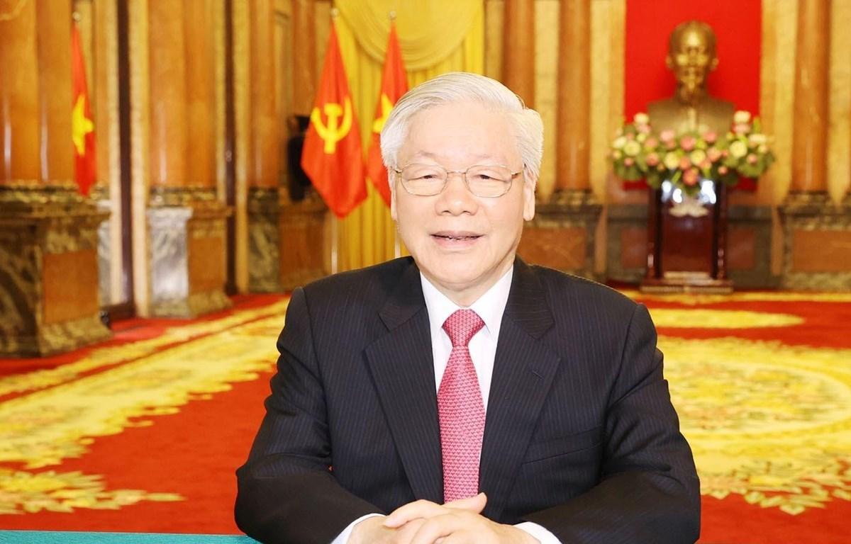 Tổng Bí thư, Chủ tịch nước Nguyễn Phú Trọng gửi thông điệp tới Phiên thảo luận chung cấp cao Khóa 75 Đại hội đồng Liên hợp quốc. (Ảnh: Trí Dũng/TTXVN)