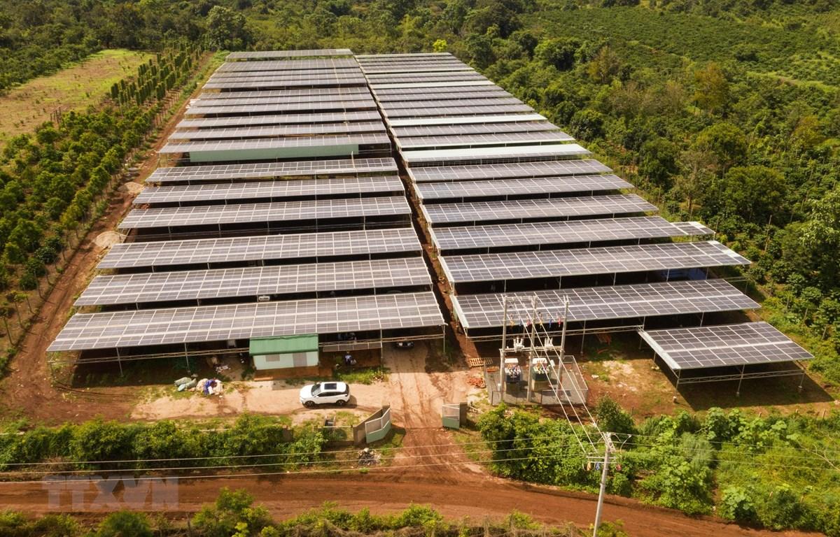 Dự án điện mặt trời mái nhà trang trại tại xã Thăng Hưng, huyện Chư Prông, tỉnh Gia Lai. (Ảnh: Hoài Nam/TTXVN)