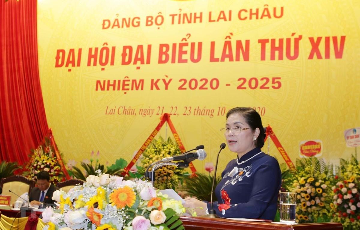 Bà Giàng Páo Mỷ, Bí thư tỉnh ủy Lai Châu nhiệm kỳ 2020-2025. (Ảnh: Quý Trung/TTXVN)