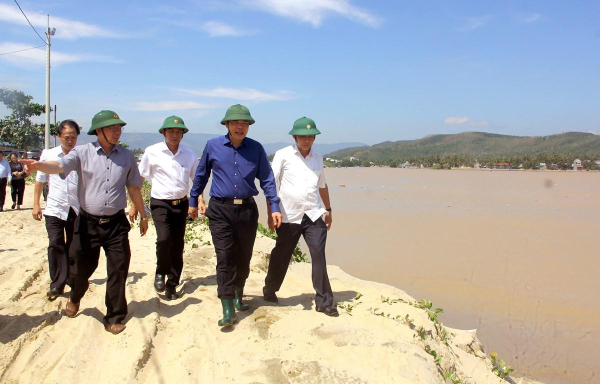 Đoàn công tác của Ban Chỉ đạo Trung ương về Phòng chống thiên tai kiểm tra tình trạng sạt lở bờ biển ở Bình Định. (Ảnh: Nguyên Linh/TTXVN)