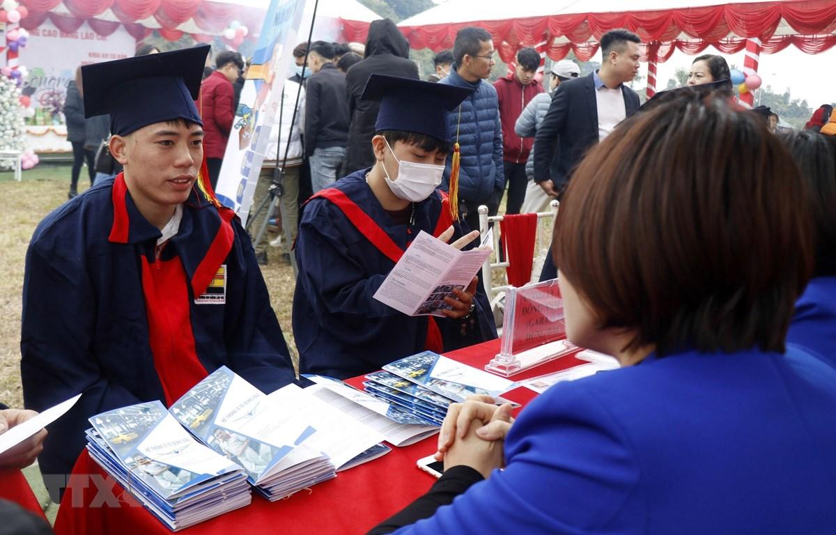 Các sinh viên tại Lào Cai được tư vấn việc làm ngay sau khi nhận bằng tốt nghiệp. (Ảnh: Quốc Khánh/TTXVN)