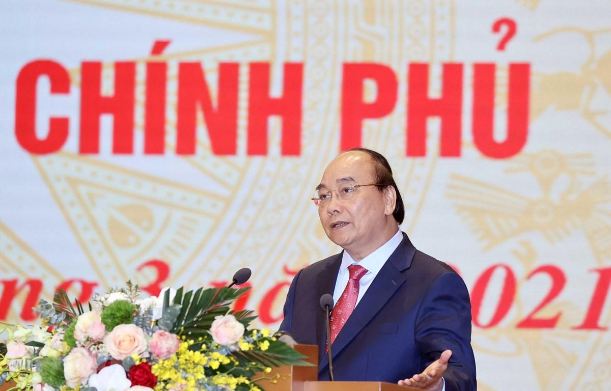 Thủ tướng Nguyễn Xuân Phúc phát biểu tổng kết hội nghị. (Ảnh: Thống Nhất/TTXVN)