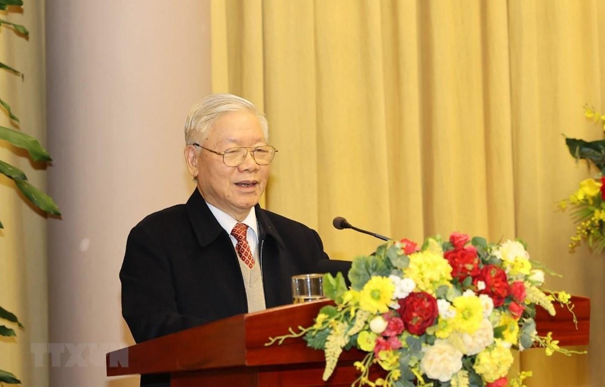 Tổng Bí thư, Chủ tịch nước Nguyễn Phú Trọng phát biểu tại Hội nghị triển khai nhiệm vụ năm 2021 của Văn phòng Chủ tịch nước. (Ảnh: Trí Dũng/TTXVN)