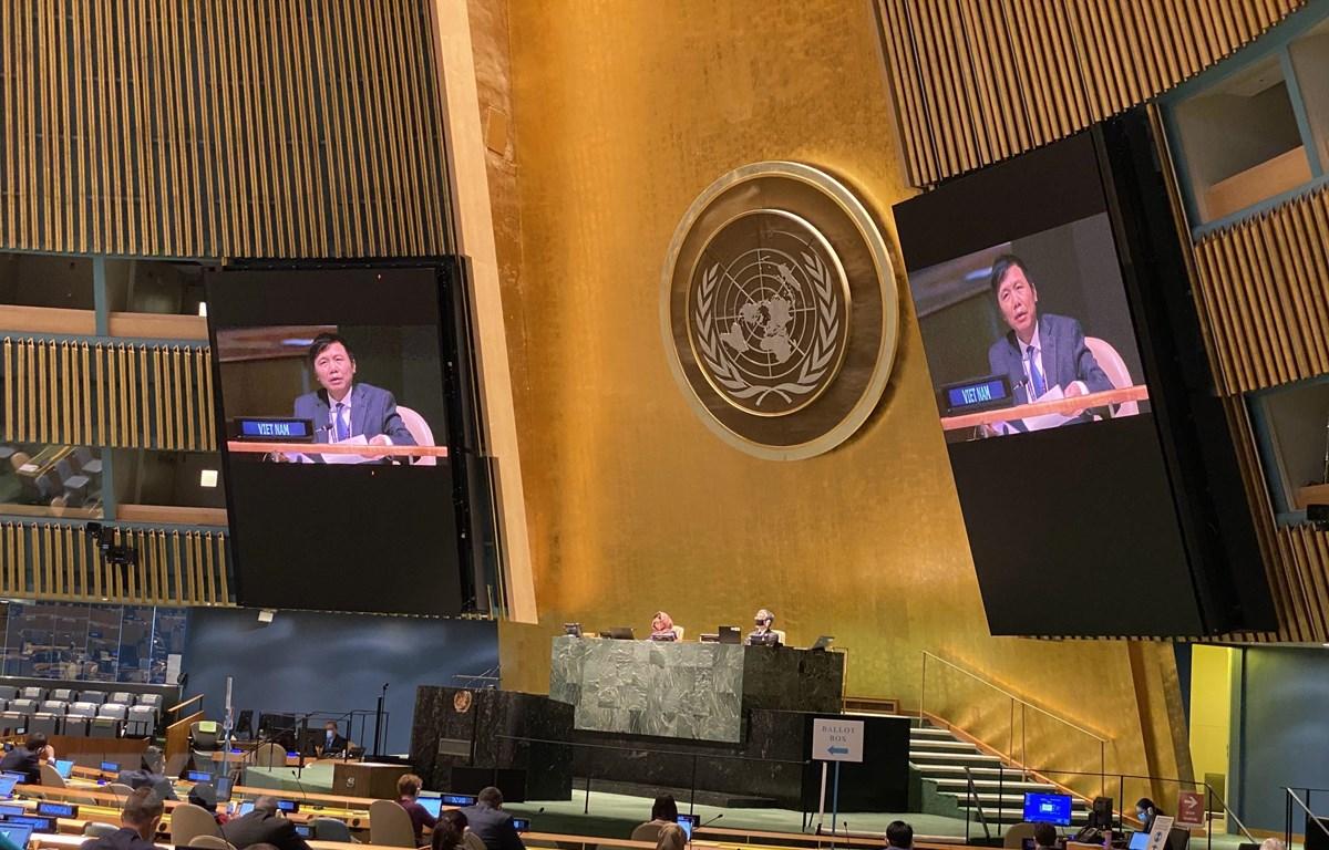 Đại sứ Đặng Đình Quý, Trưởng Phái đoàn Việt Nam tại LHQ đã thay mặt các nước ASEAN giới thiệu Nghị quyết về hợp tác ASEAN-LHQ do Việt Nam thay mặt ASEAN chủ trì đề xuất. (Ảnh: TTXVN)