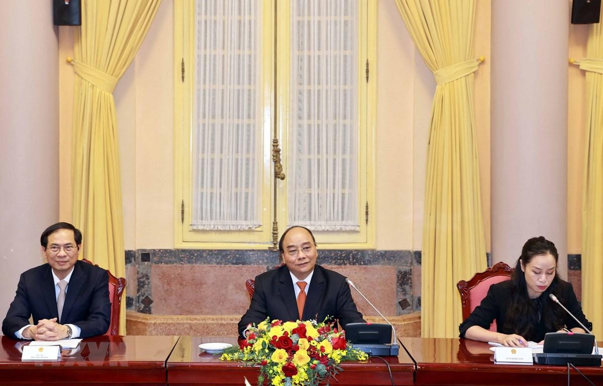 Chủ tịch nước Nguyễn Xuân Phúc phát biểu tại buổi tiếp đại sứ, đại biện các nước thành viên ASEAN. (Ảnh: Thống Nhất/TTXVN)