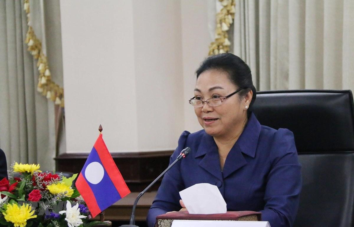 Trong ảnh: Thứ trưởng Ngoại giao Lào Khamphau Eunthavan phát biểu tại buổi làm việc. (Ảnh: Xuân Tú/TTXVN)