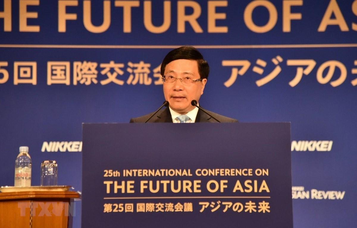 Phó Thủ tướng, Bộ trưởng Ngoại giao Phạm Bình Minh phát biểu tại Hội nghị. (Ảnh: Đào Tùng/TTXVN)