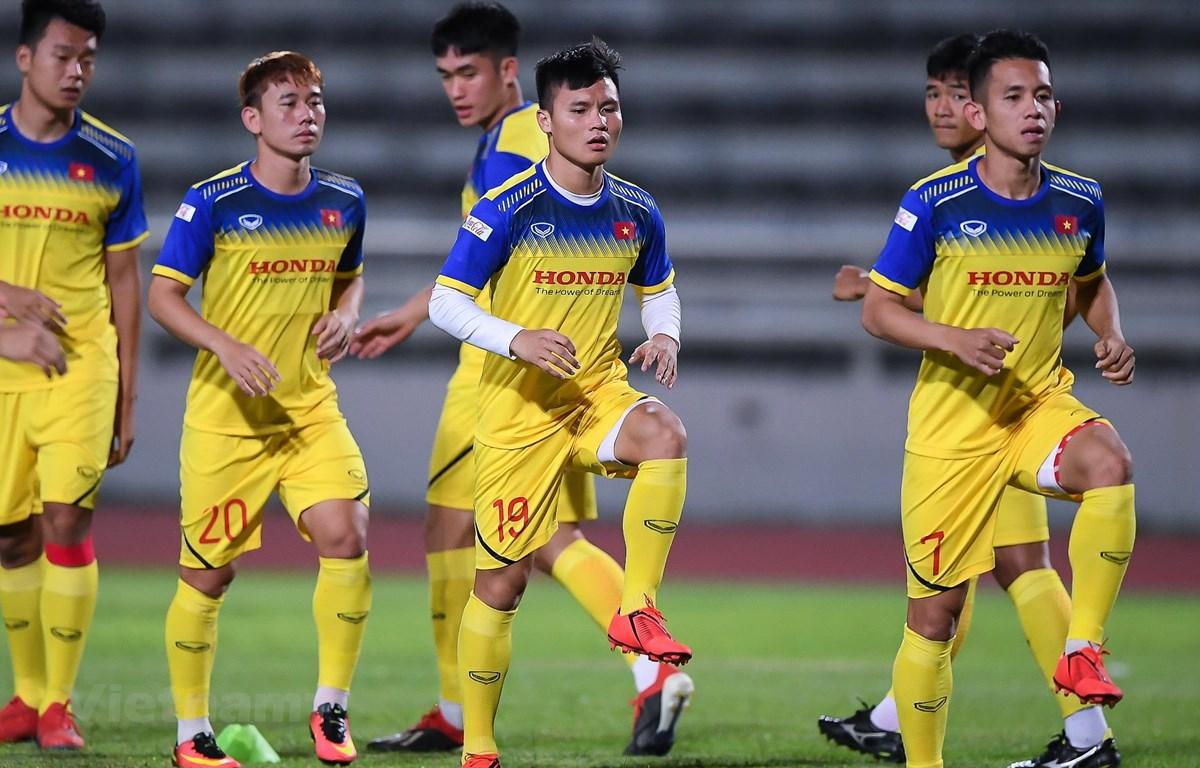 Cầu thủ Việt Nam đang rất tự tin trước trận gặp Curacao. (Ành: Hiếu Lương/Vietnam+)