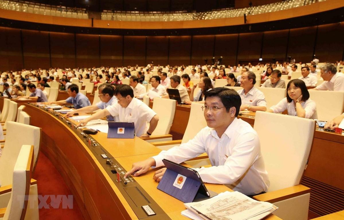 Đại biểu Quốc hội biểu quyết thông qua Nghị quyết về việc thành lập Đoàn giám sát chuyên đề của Quốc hội năm 2020. (Ảnh: Phương Hoa/TTXVN)