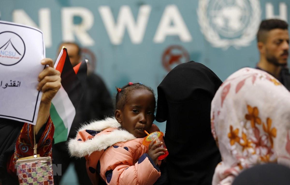 Người tị nạn Palestine bên ngoài trụ sở UNRWA tại thành phố Gaza ngày 15/3. (Ảnh: AFP/ TTXVN)