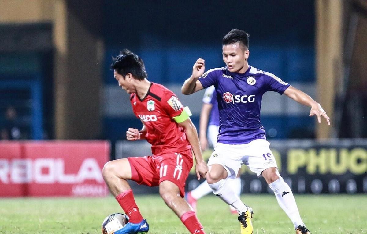 Hà Nội FC và Hoàng Anh Gia Lai chia điểm. (Ảnh: Trọng Đạt/TTXVN)
