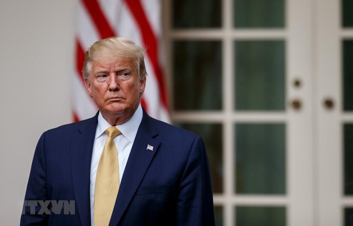 Tổng thống Mỹ Donald Trump phát biểu tại Nhà Trắng ở Washington DC. (Ảnh: THX/TTXVN)
