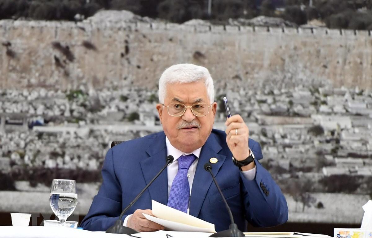 Tổng thống Palestine Mahmoud Abbas phát biểu tại cuộc họp ở thành phố Ramallah, Bờ Tây ngày 25/7. (Ảnh: THX/TTXVN)