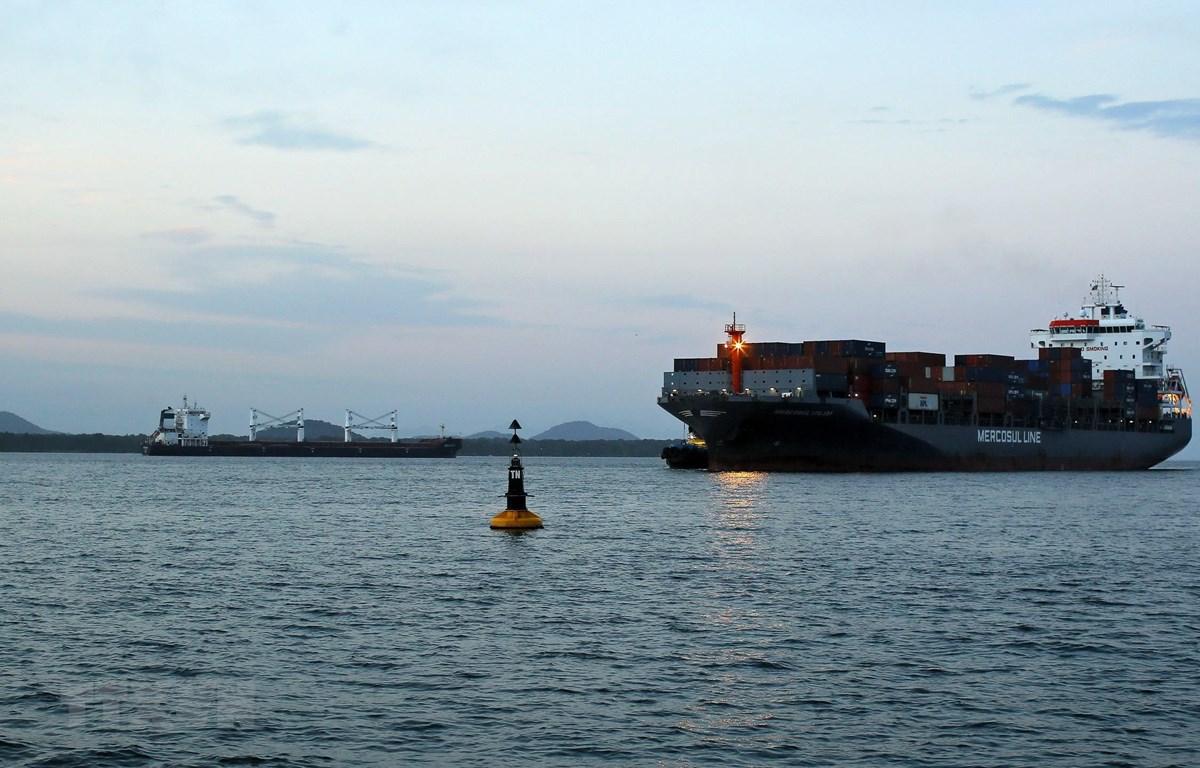 Tàu hàng Bavand (trái) của Iran neo tại cảng Paranagua, Brazil, ngày 19/7. (Ảnh: AFP/TTXVN)