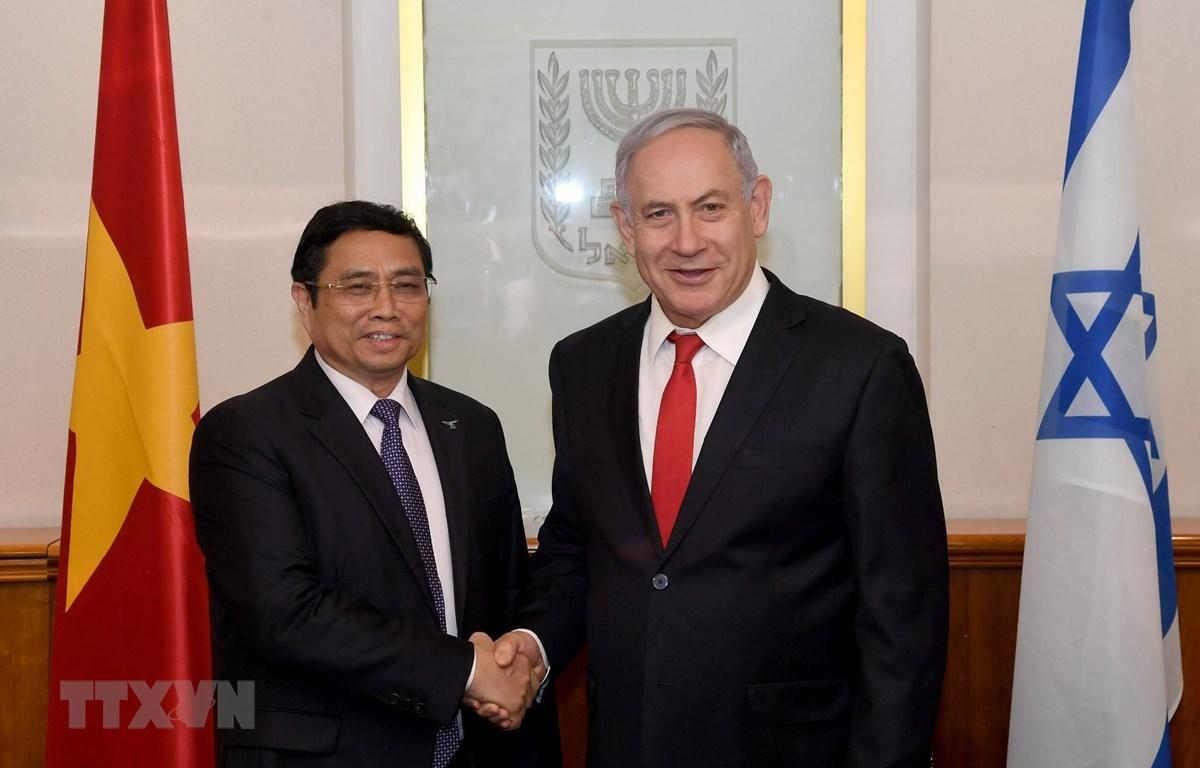 Trưởng Ban Tổ chức Trung ương Phạm Minh Chính hội kiến Chủ tịch Đảng Likud, Thủ tướng Nhà nước Israel Benjamin Netanyahu. (Ảnh: Công Đồng/TTXVN)