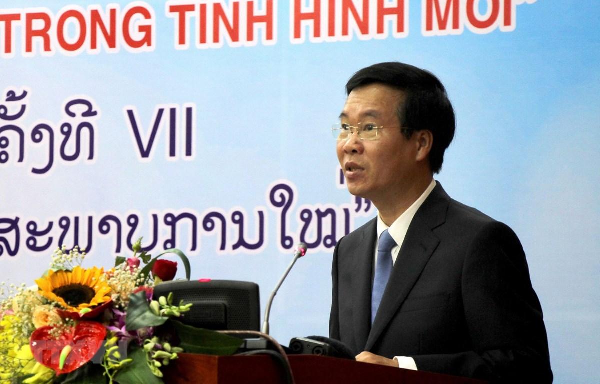 Đồng chí Võ Văn Thưởng, Ủy viên Bộ Chính trị, Bí thư Trung ương Đảng, Trưởng Ban Tuyên giáo Trung ương phát biểu tại Hội thảo. (Ảnh: Mạnh Thành/TTXVN)