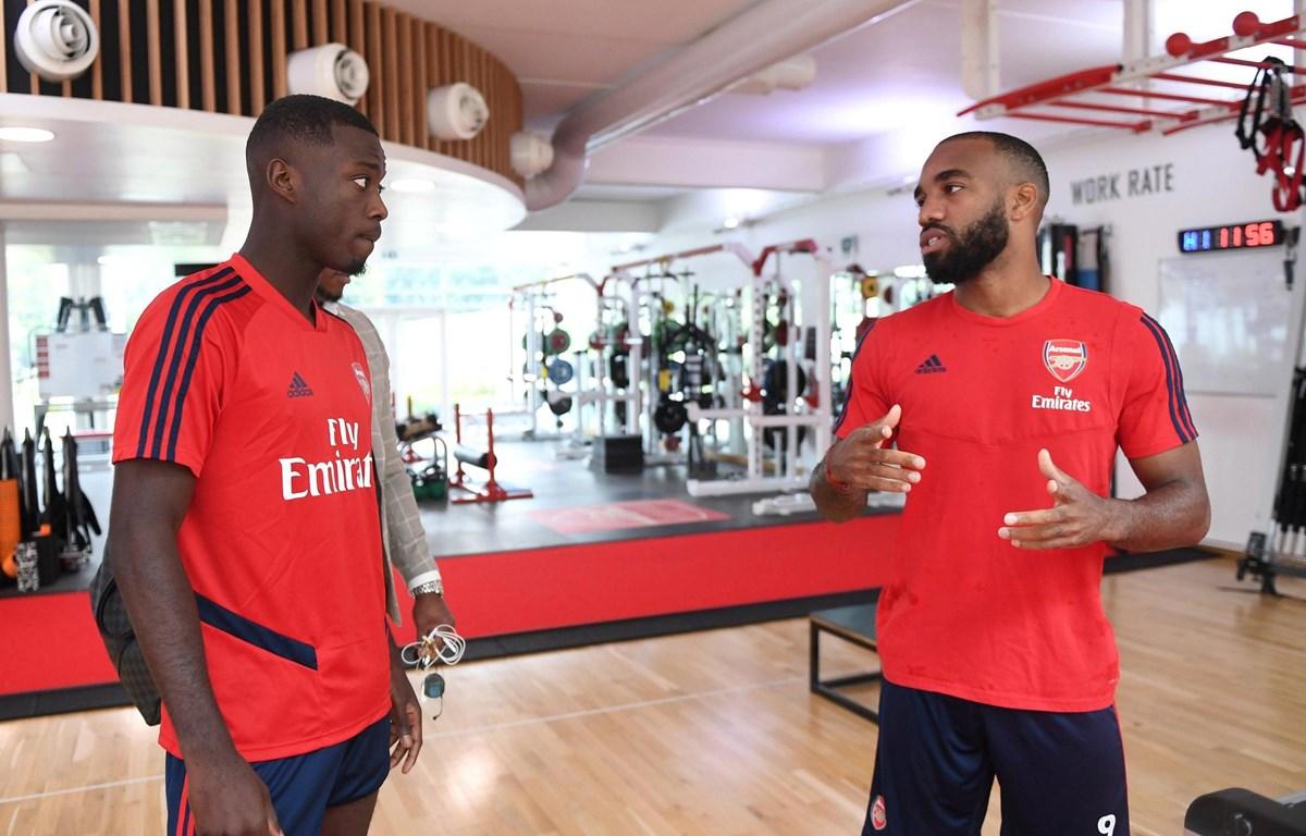 Nicolas Pepe và Alexandre Lacazette trong phòng tập gym của Arsenal. (Nguồn: Getty Images)