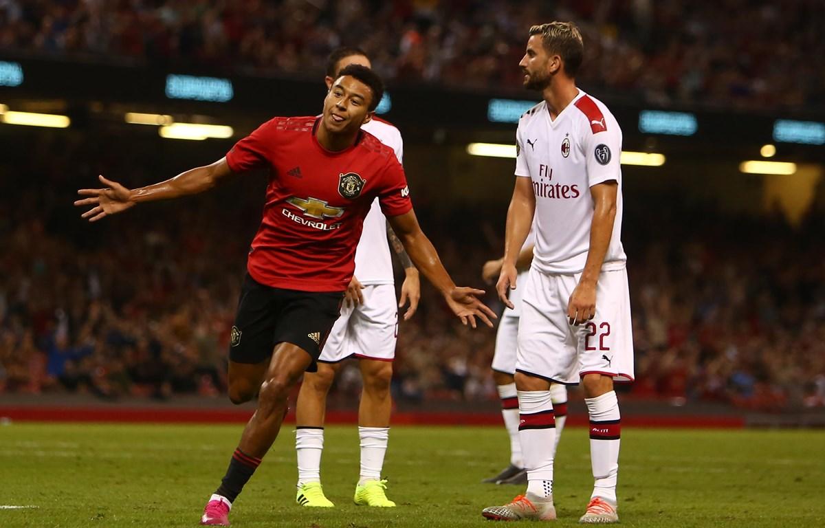 Jesse Lingard gỡ hòa 2-2, trước khi M.U đamn1h bại Milan ở loạt sút luân lưu. (Nguồn: Getty Images)