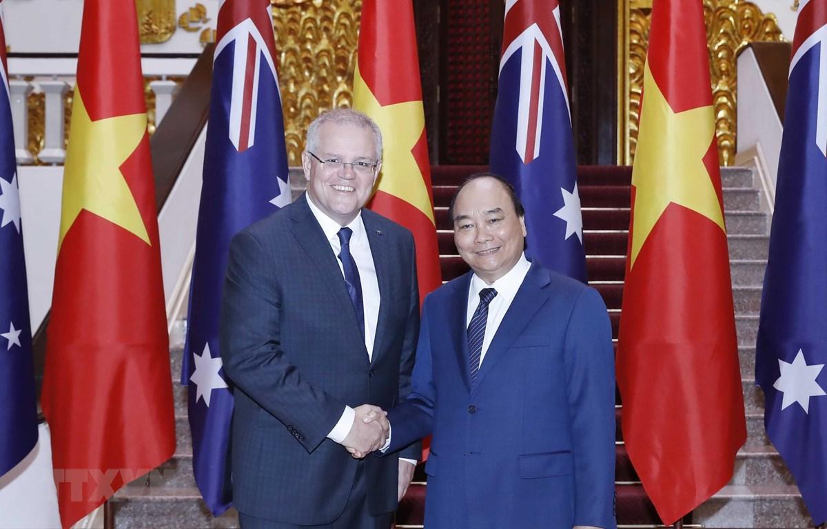 Thủ tướng Nguyễn Xuân Phúc và Thủ tướng Australia Scott Morrison tại Trụ sở Chính phủ. (Ảnh: Thống Nhất/TTXVN)